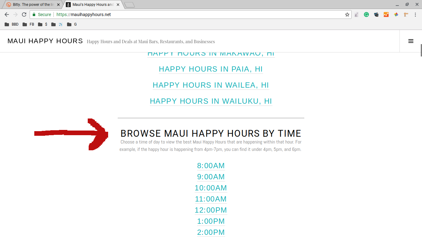 maui happy hours screenshot - browse happy hours by time
