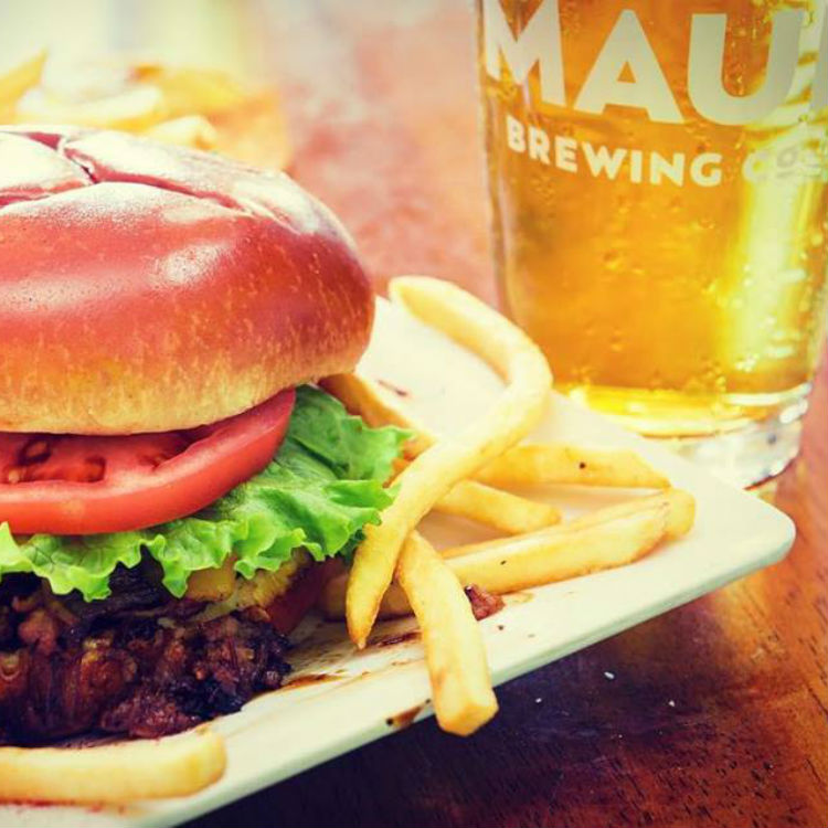 happy hour at cafe mambo maui - burger and fries with local maui brew co beer