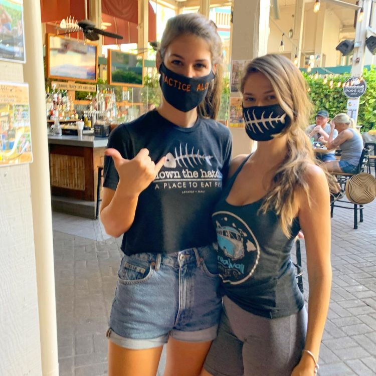 Down the Hatch Happy Hour Maui - Bartender Girls with Masks