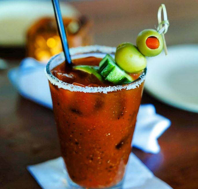 Happy Hour Bloody Mary with Salt Rim at Monkeypod Kitchen by Merriman in Wailea Maui Hawaii 2021