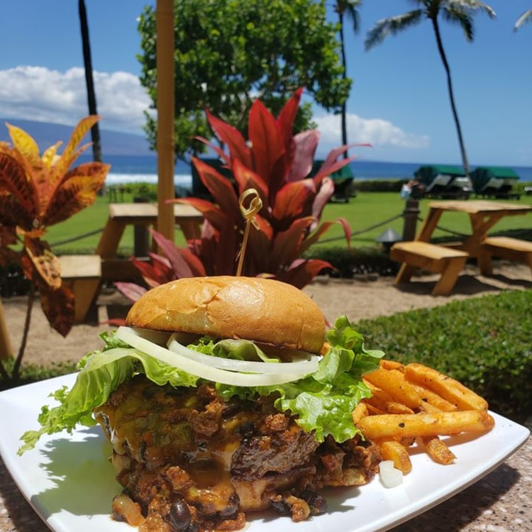 Burger at Kaanapali Grille and Tap Room in Kaanapali, Maui, Hawaii - Maui Happy Hours