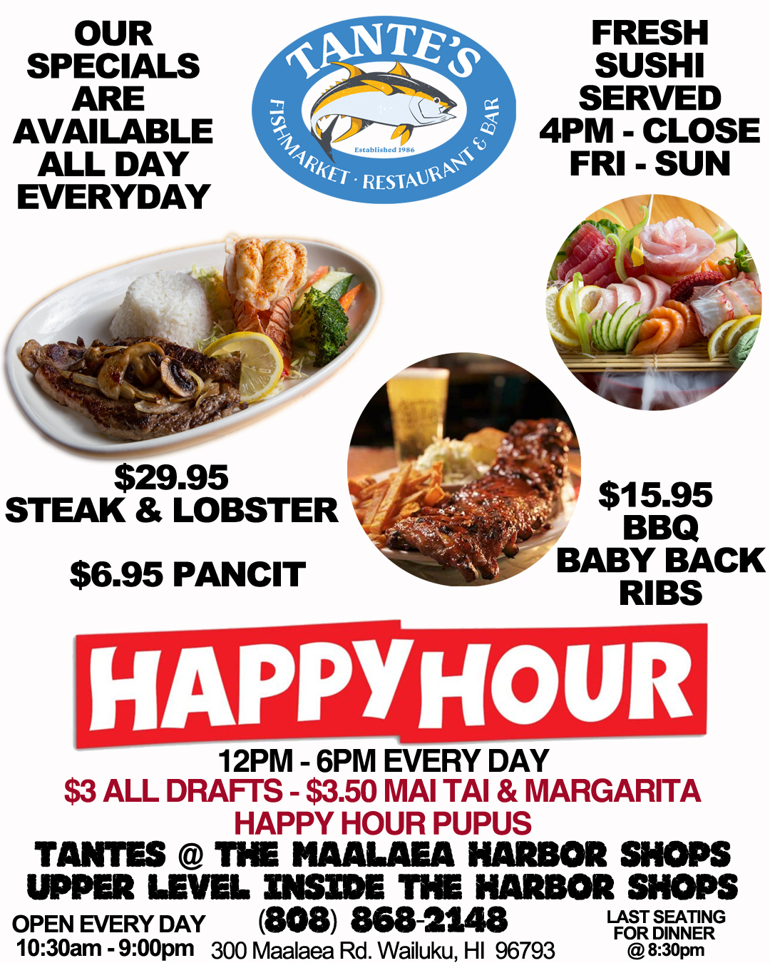 Tante's Maui Happy Hour Menu 2020