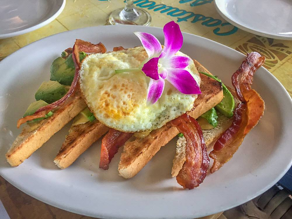 Avocado Toast with Eggs and Bacon at Castaway Cafe Maui
