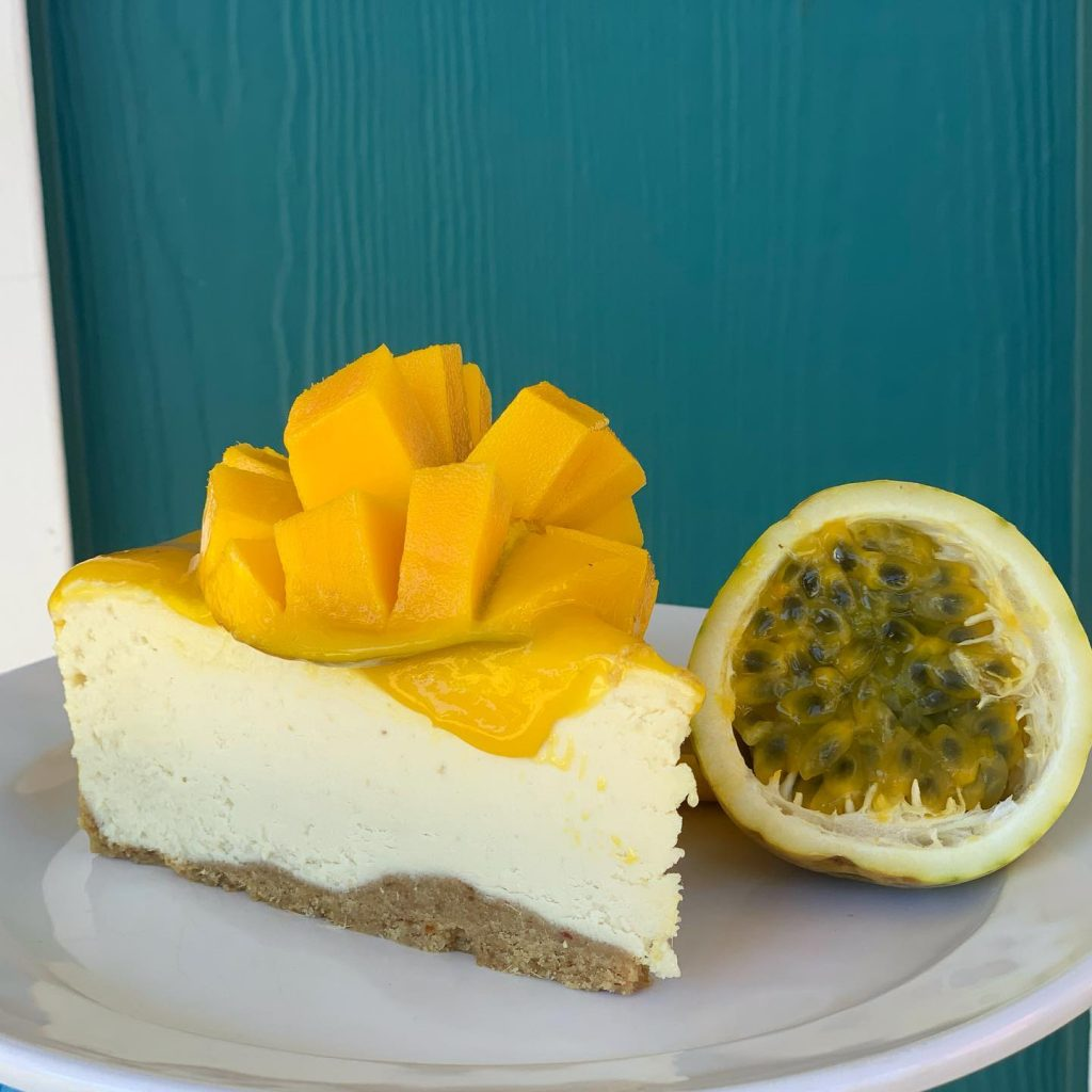 Vegan Lilikoi Passion Fruit Cheese Cake at Moku Roots Maui Hawaii