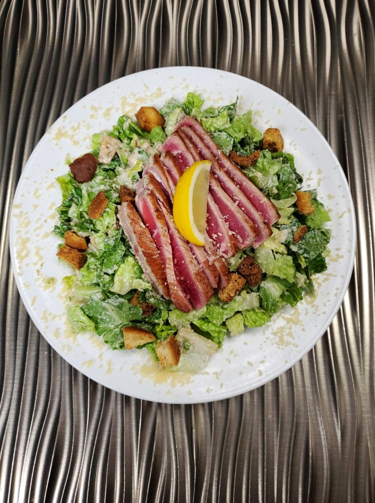 diamonds maui happy hour - ahi tuna caesar salad