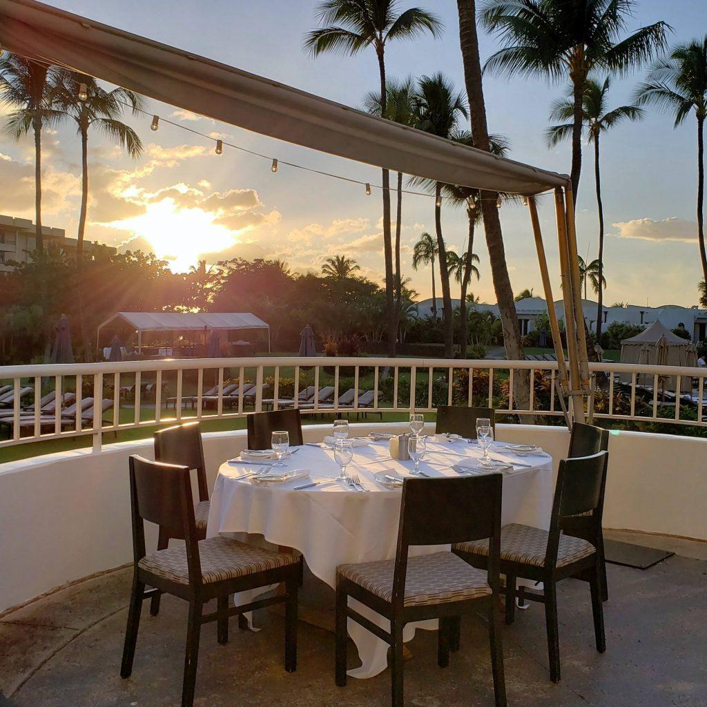 maui sunset dining - nicks fish market - fairmont kea lani