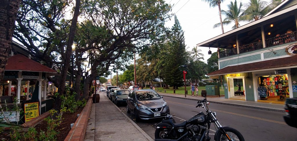 Downtown Lahaina Maui with Harley Davidson Motorcycle