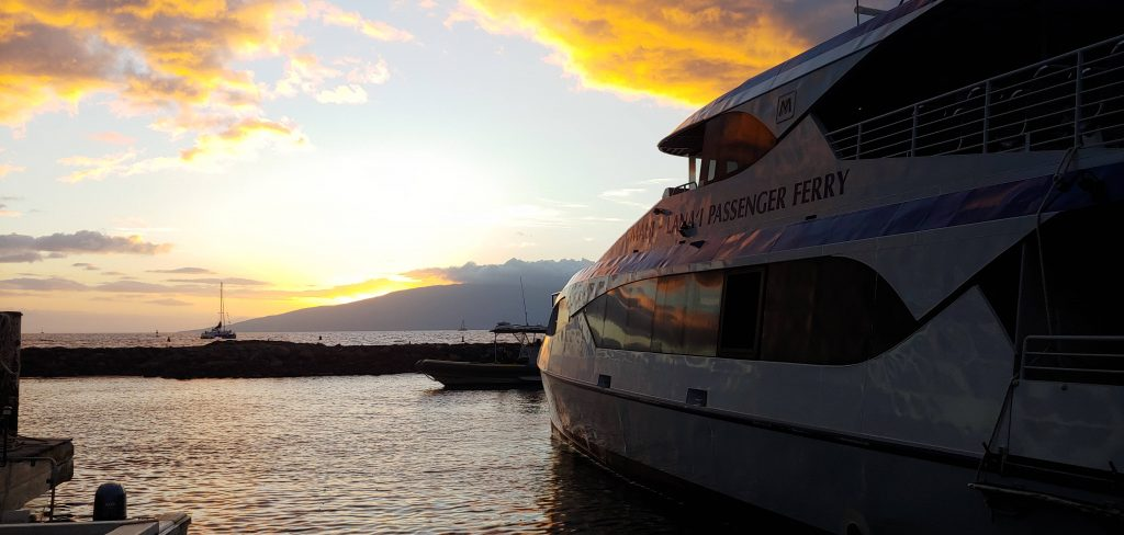 Lanaii Passenger Ferry in Maui at Sunset