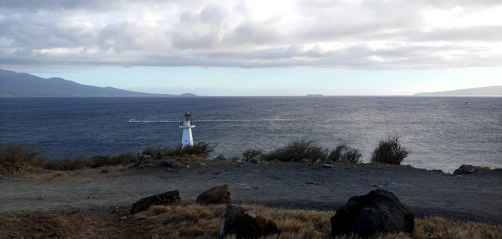 Small Lighthouse in front of Pacific Ocean at Maalaea Bay Maui Hawaii
