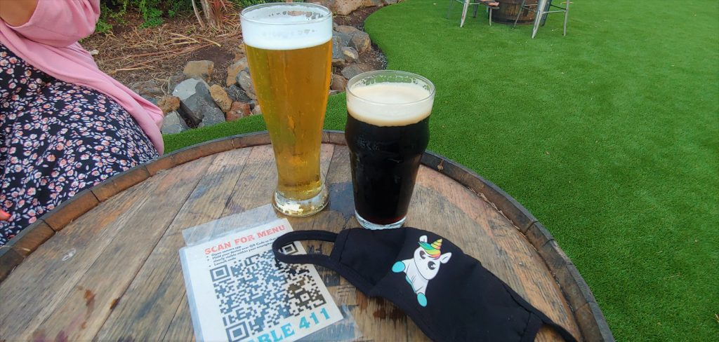 craft beers and unicorn face mask at maui brewing kihei hi