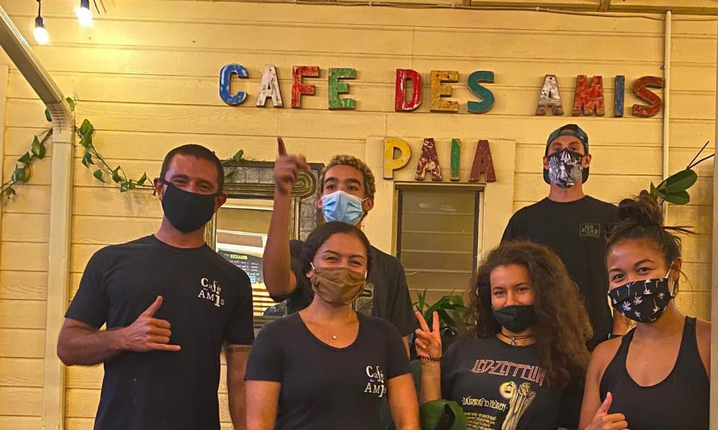 Cafe Des Amis Restaurant Staff with Masks for Covid in Hawaii
