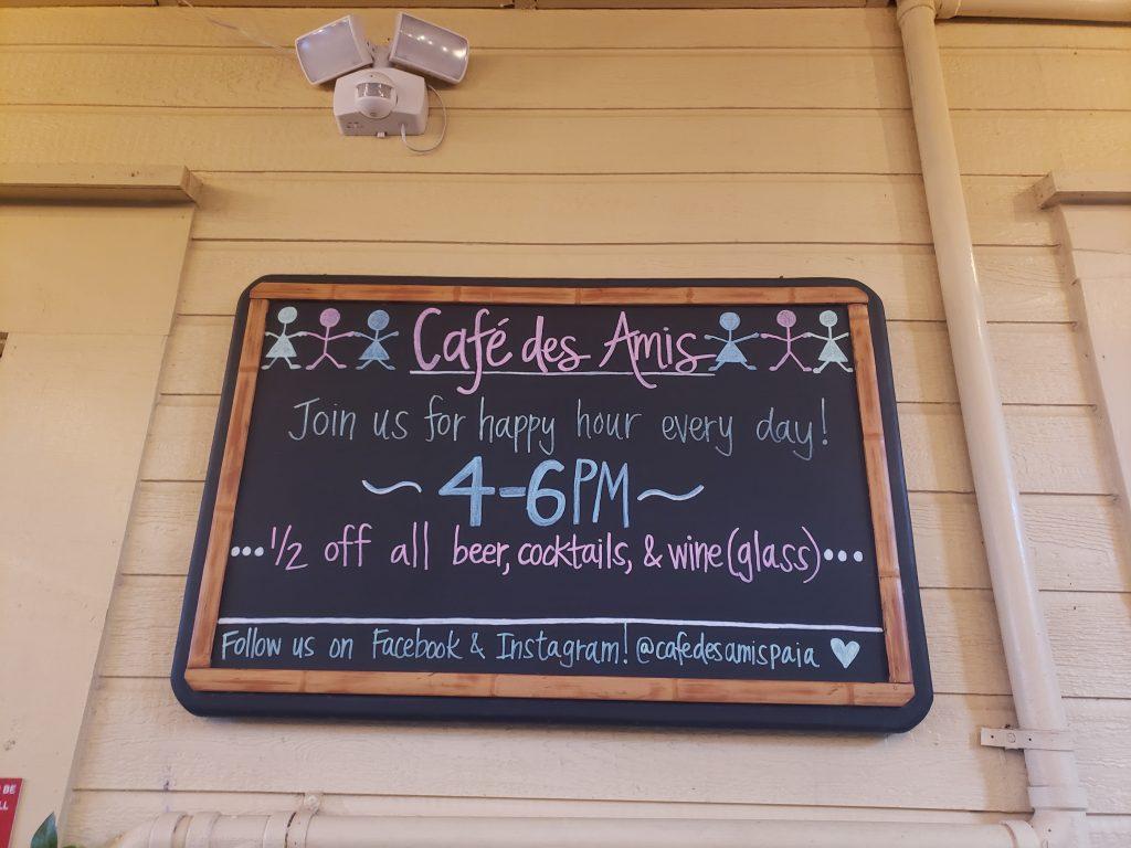 Cafe Des Amis Happy Hour Specials Board