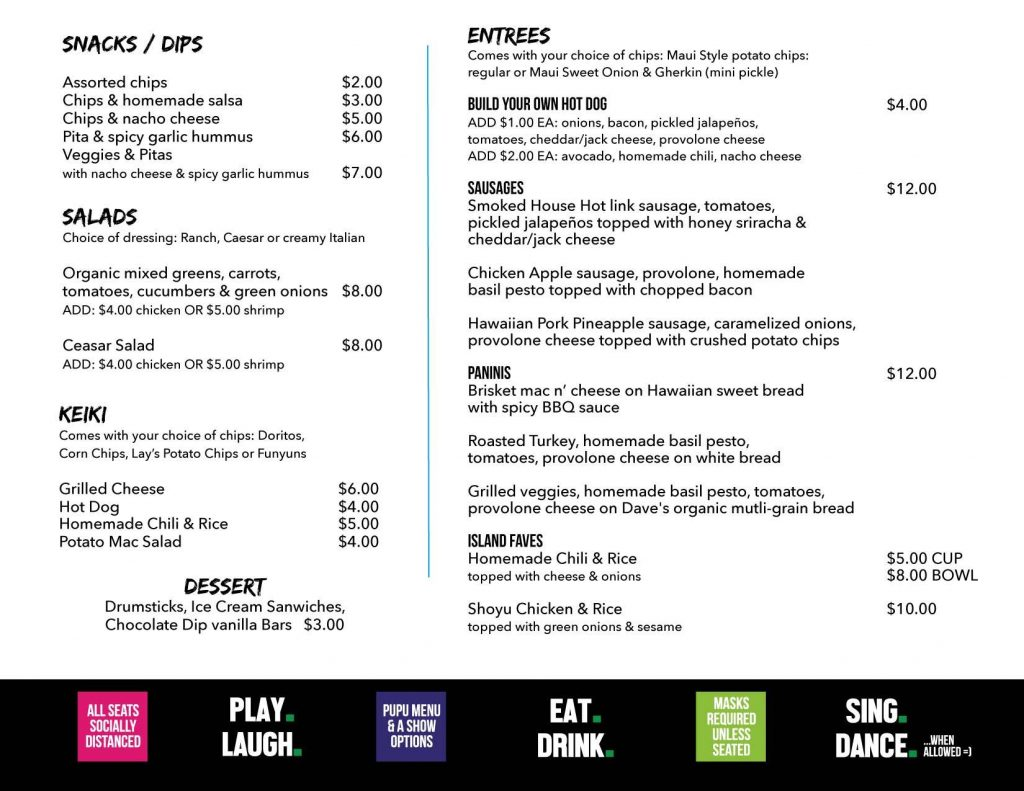 Da Playground Maui Restaurant Menu 2