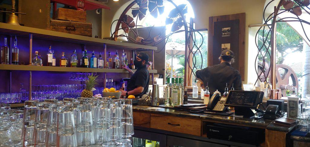 Dylan Johnson making drinks at the bar