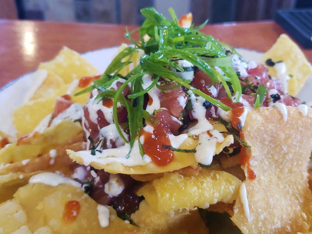 Happy Hour Ahi Tuna Poke Nachos at Cafe OLei Restaurant at The Mill House at Maui Tropical Plantation