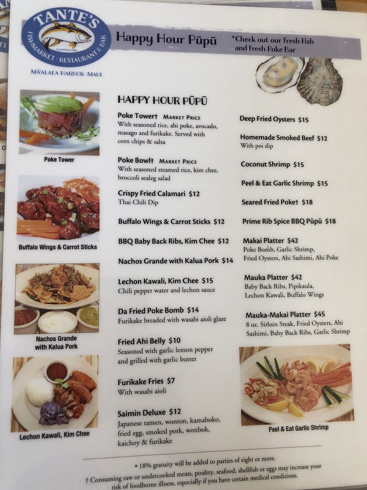 tantes maui happy hour appetizers menu