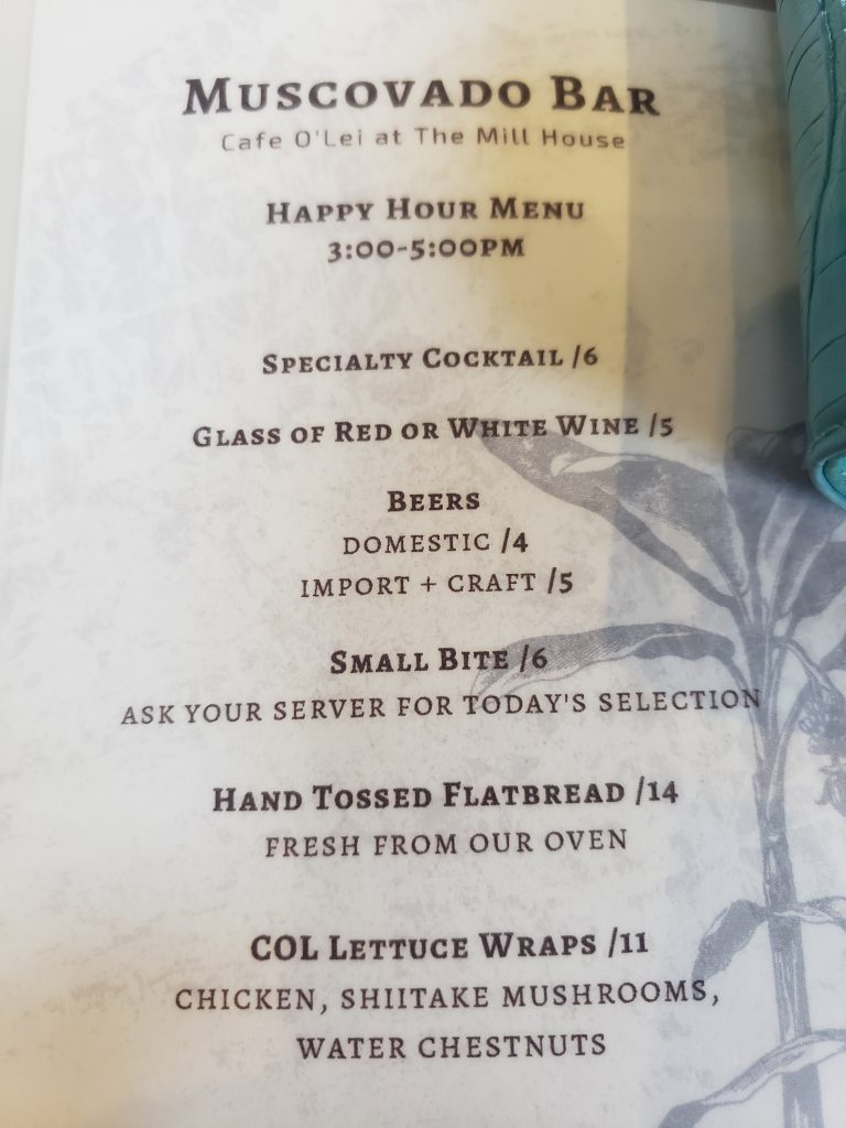 Happy Hour Menu Cafe OLei Mill House 2021 Specials