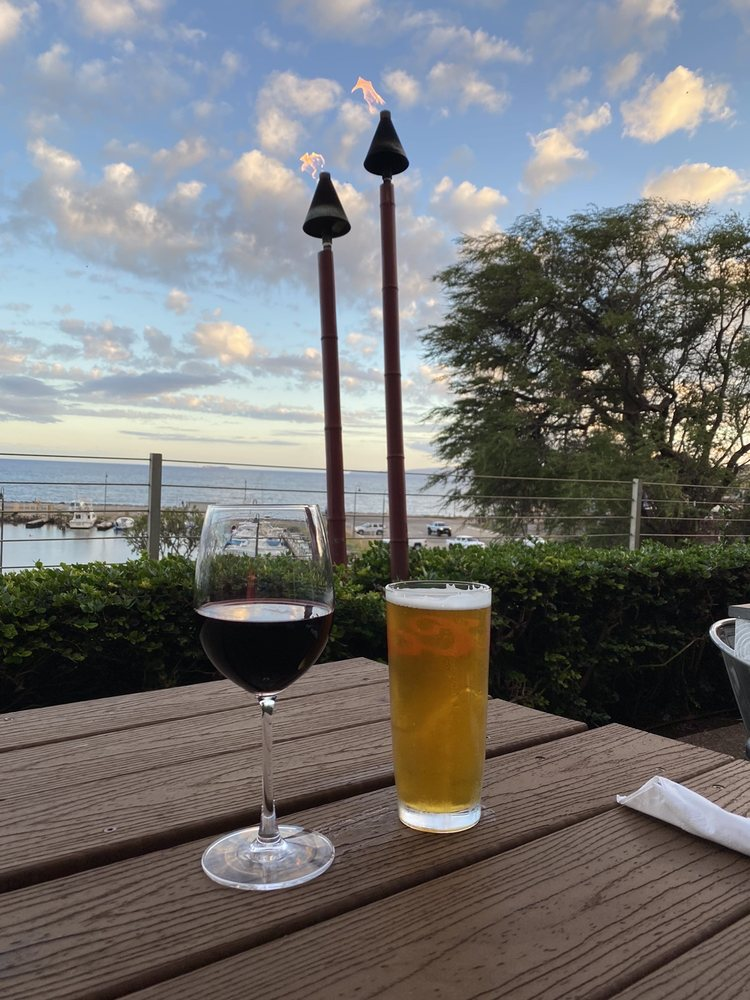 Ocean View Happy Hour Beer and Wine at Tantes Fishmarket Retaurant and Bar Maui HI 2021