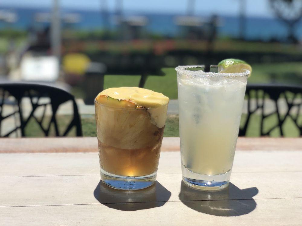 Happy Hour Mai Tai and Margarita cocktails at Monkeypod Kitchen Maui Hawaii
