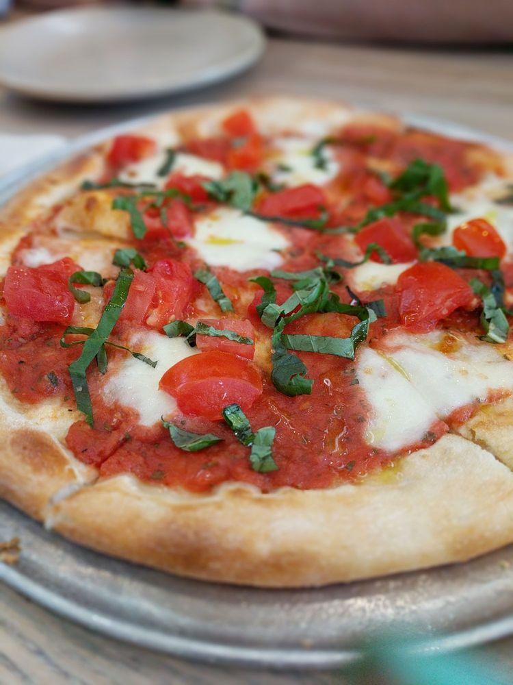 Margherita Pizza Closeup at Monkeypod Restaurant Kaanapali HI - Maui Happy Hours