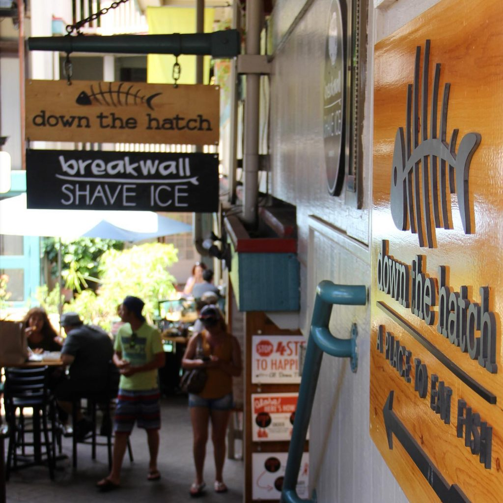 happy hour at breakwall shave ice and down the hatch lahaina maui hawaii