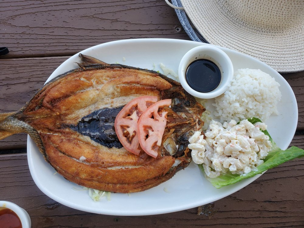 whole fried fish with mac salad and rice at tantes maui happy hour
