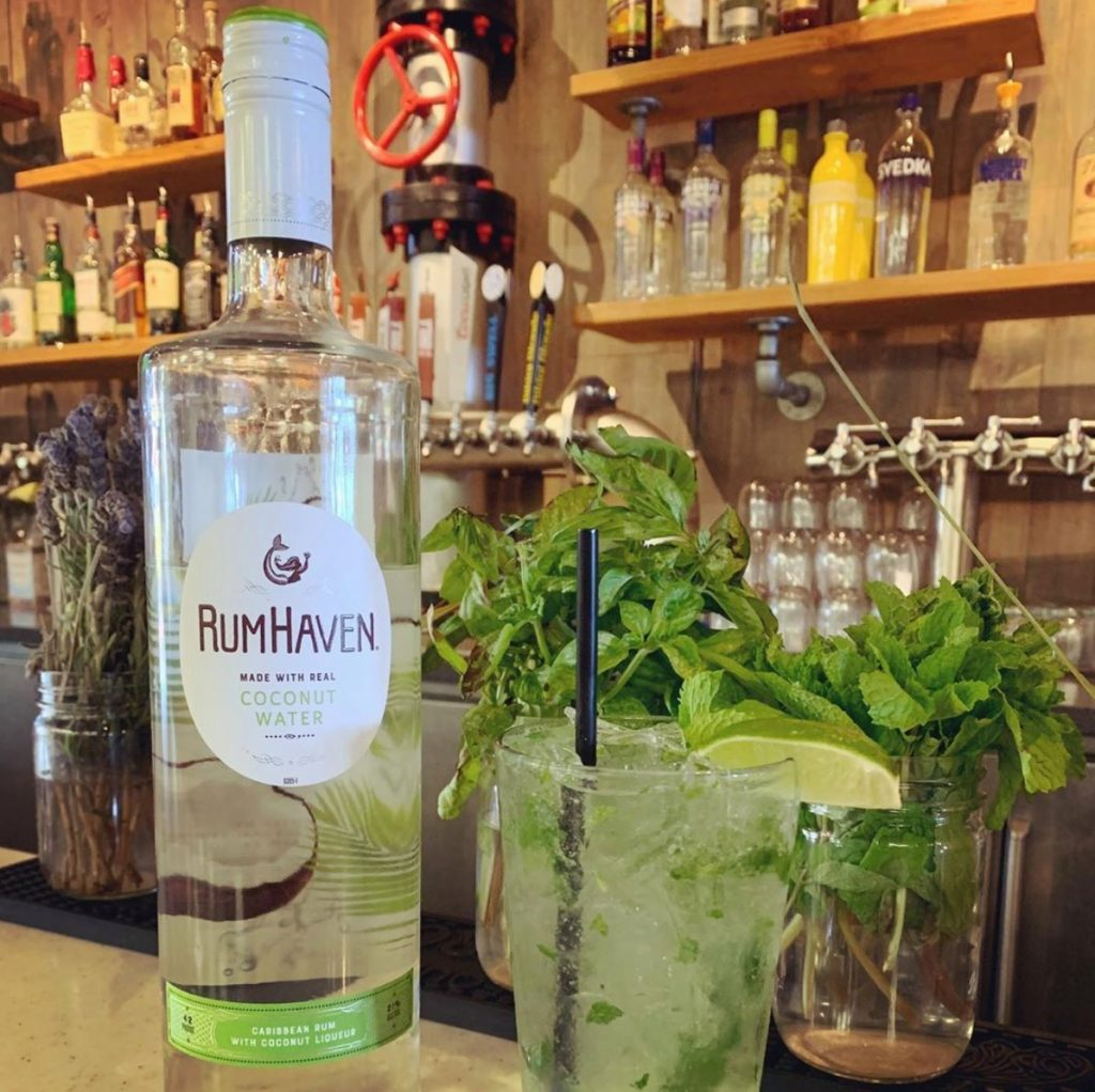 Mojito with Fresh Mint and Lime - RumHaven Made with Real Coconut Water Carinneam Rum with Coconut Liqueur