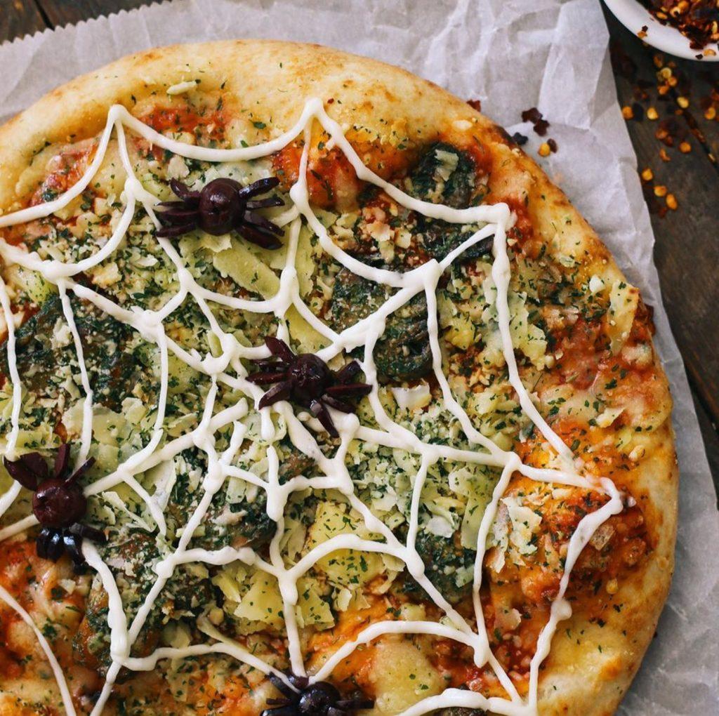 Halloween Spider Web Design on Pizza in Lahaina Hawaii