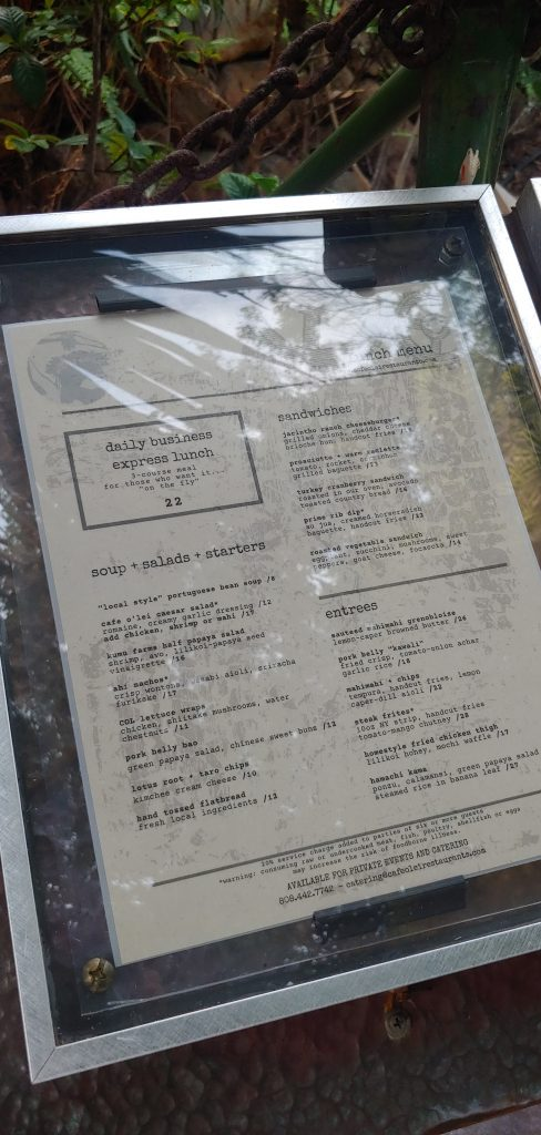 Lunch Menu Cafe OLei Mill House Restaurant