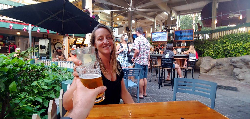 Russell and Kayla Cheers at Down the Hatch Happy Hour in Lahaina Maui Hawaii