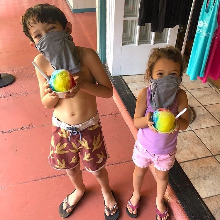 Maui Happy Hours - kids with shave ice snow cones with mask on in lahaina maui hawaii