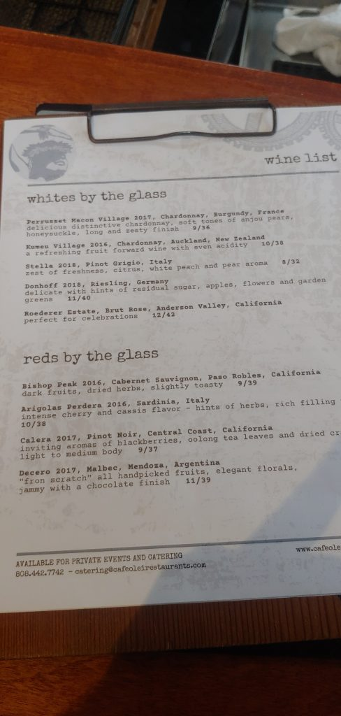Wine List at Cafe O Lei Restaurant Maui
