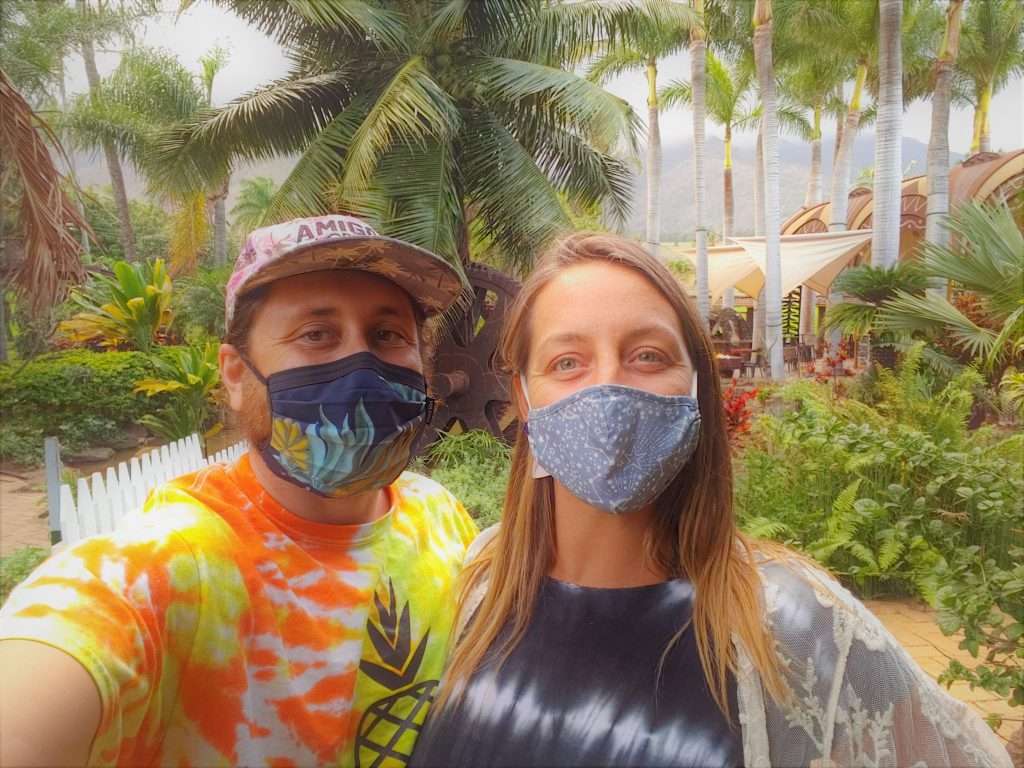 Russell and Kayla of Maui Happy Hours with Masks On