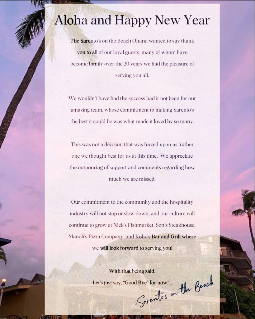 Sarentos Restaurant Maui Covid19 COVID Closing Message