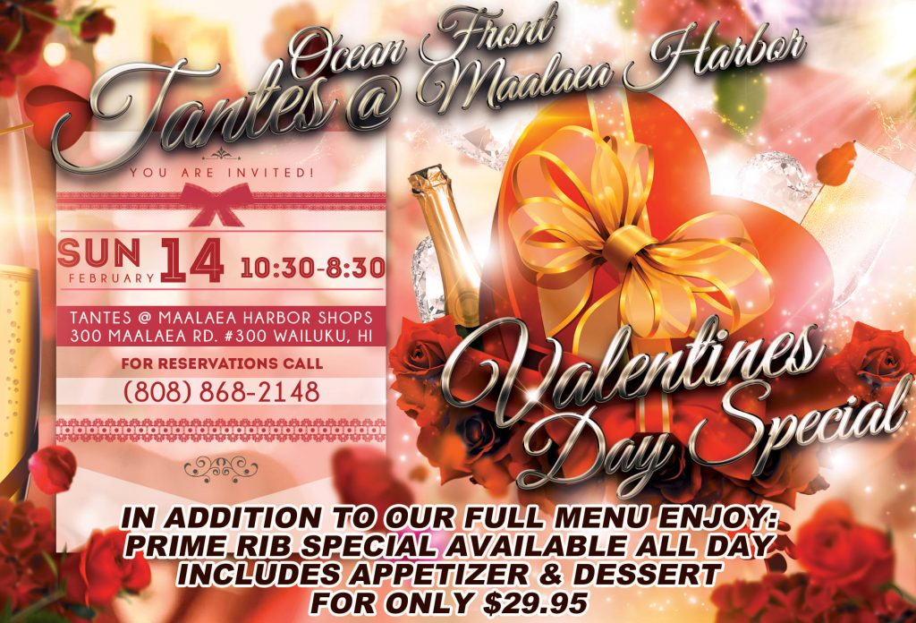 Tantes Maui Happy Hour Valentines Day 2021 Flyer