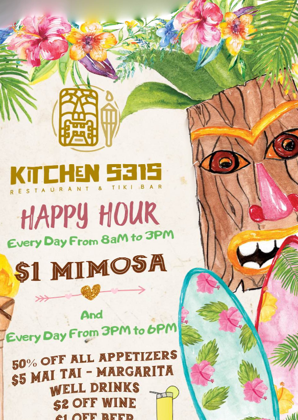 Kitchen 5315 Happy Hour Menu and Dollar Mimosas - Maui Happy Hours App