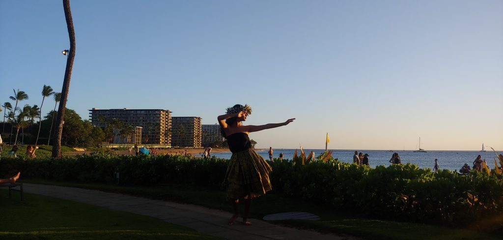 Hula Dancer at Sunset in Maui Hawaii
