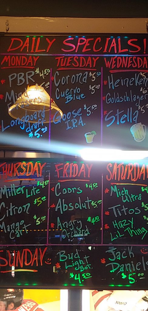 Daily Drink Specials at Lahaina Sports Bar