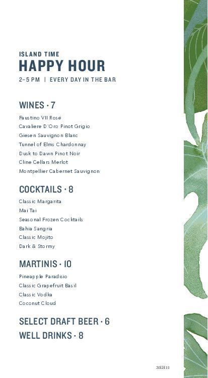 Happy Hour Menu Tommy Bahama Marlin Bar Lahaina Maui Hawaii 2021