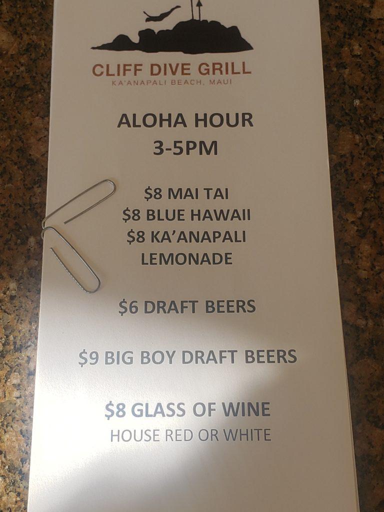 Happy Hour Menu Cliff Dive Grill Ka'anapali Beach Maui 2021