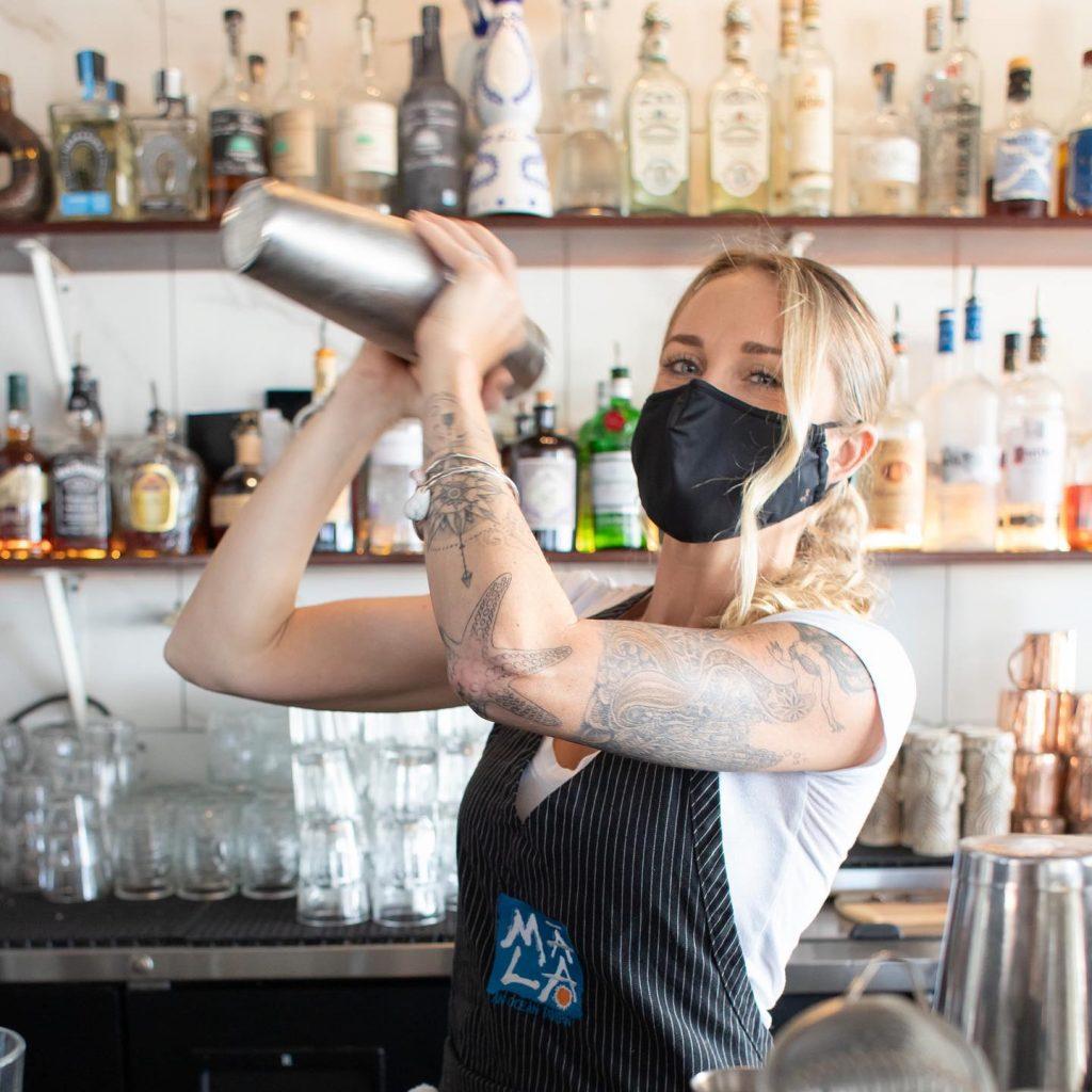 Beautiful Maui Bartender Making Cocktails at Mala Restaurant