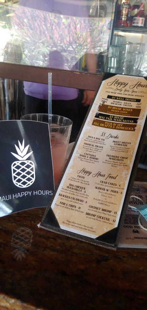 Happy Hour Menu Captain Jack's Island Grill Lahaina Maui