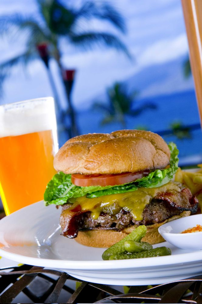Happy Hour Honu Lahaina Cheeseburger and Beer with Palm Trees