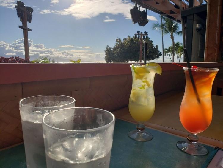 Happy hour drinks at Betty's Beach Cafe - Lahaina restaurant