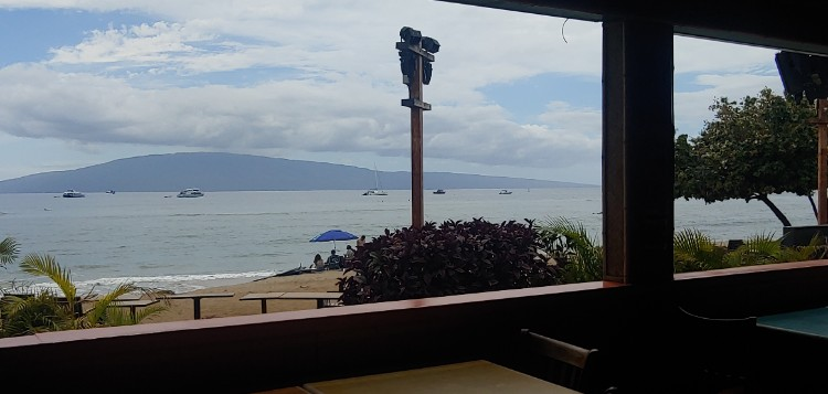 Looking out at the beach in Lahaina