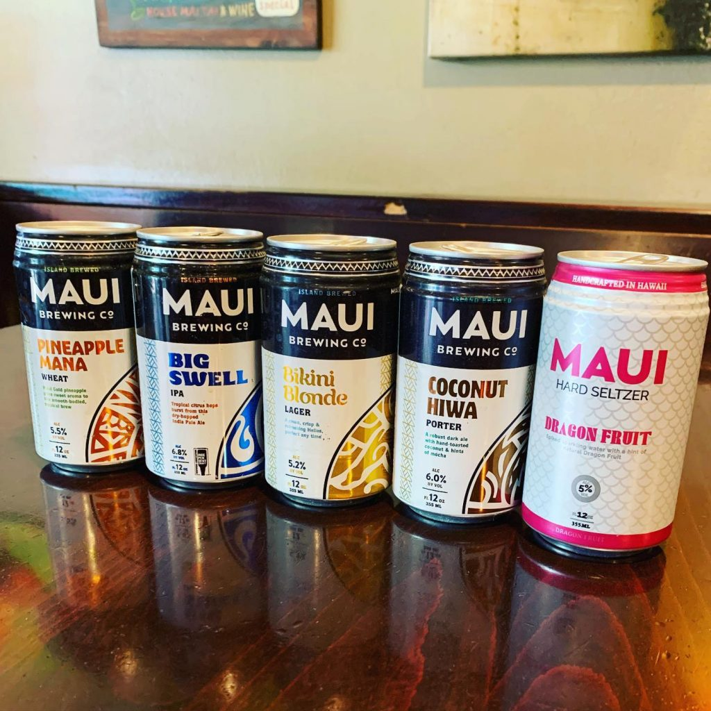 Maui Brew Beers - Pineapple Mana - Big Swell IPA - Bikini Blondge Lager - Coconut Hiwa Porter - Dragon Fruit Hard Seltzer