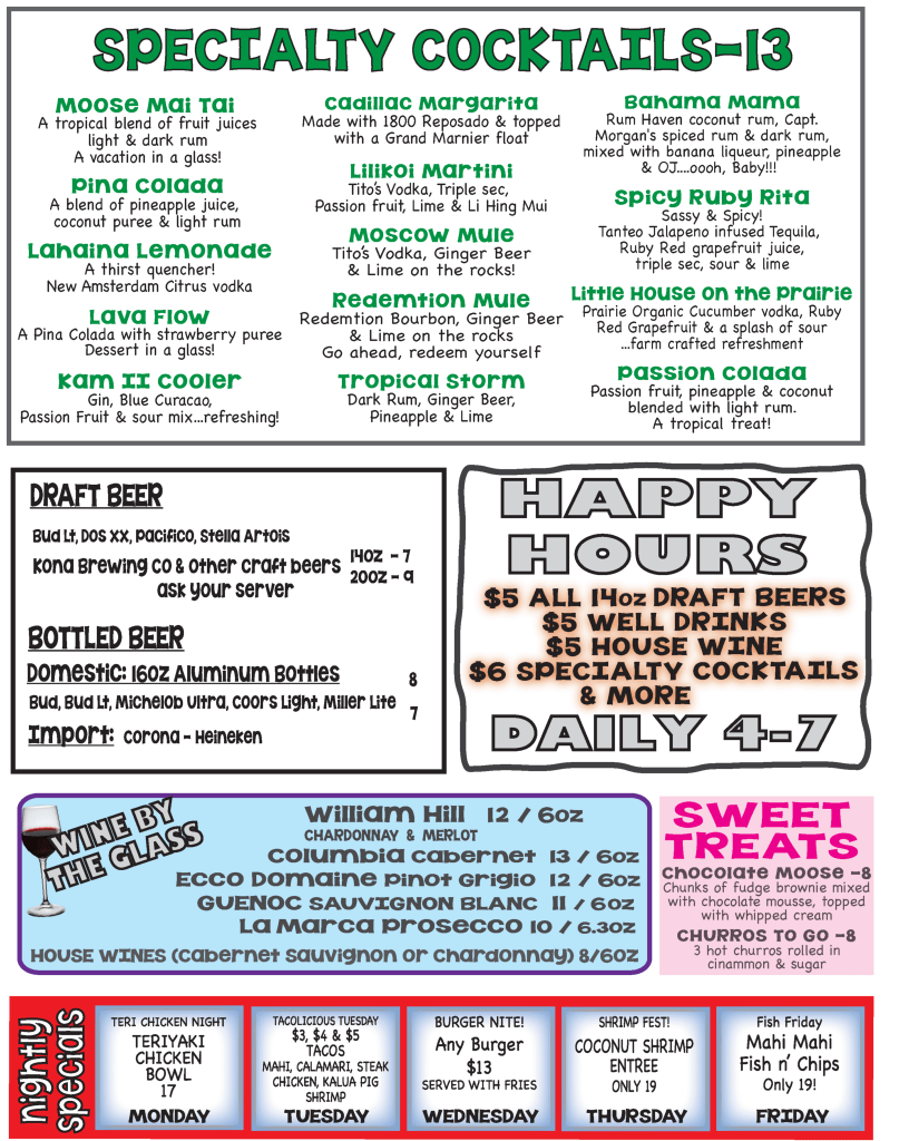 Happy Hour Menu Moose McGillycuddy's Kihei Sports Bar