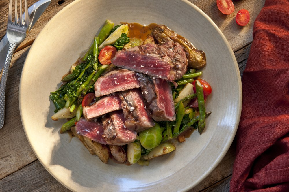 Ribeye Steak with Vegetables - Honu Seafood and Pizza Restaurant - Front Street Lahaina HI