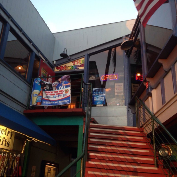 Going upstairs to The Moose bar in Kihei, Maui for happy hour