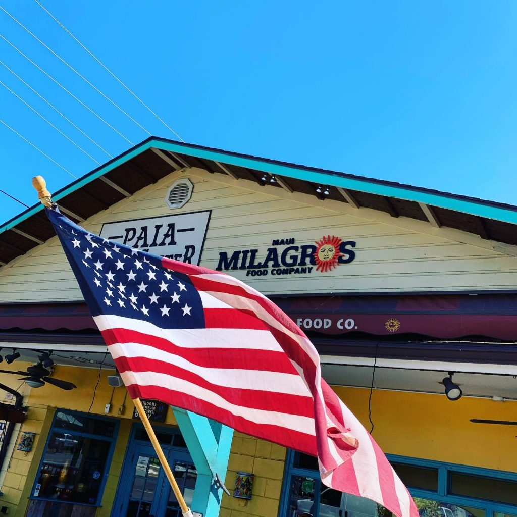 American flag at Maui Mexican Restaurant Milagros Food Co in Paia Hawaii
